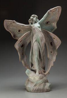 Continental Art Nouveau Ceramic Butterfly Statue by P. FEFFER