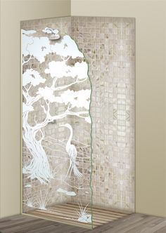 Shower Divider Panel featuring the Bonsai Egret design in the 1D Positive Clear effect by Sans Soucie Art Glass. Design elements are sandblast etched on the top surface of smooth, clear glass, and are solid white shapes.  This effect is considered semi-private, as the clear glass background area of the glass, will vary by design.