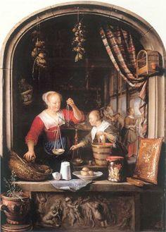 The Grocer's Shop - Gerrit Dou, (1672) , oil on panel 49 x38 cm