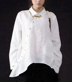 Irrégulière+Hem+longues+manches+chemise+en+lin+sur+par+zeniche,+$65.00