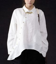 Irregular Hem Long Sleeve Linen Shirt by zeniche on Etsy, $65.00  in black for crispina