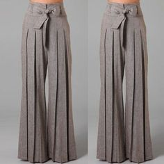 Women Loose Casual Ol Wide Leg High Waist Long Pants Palazzo Trousers Belt