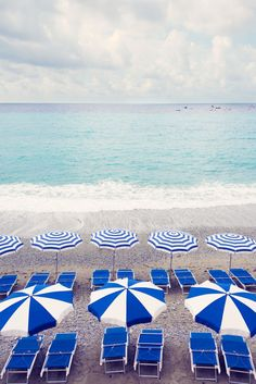 Navy and White Striped Umbrellas Vertical, Cinque Terre, La Dolce Vita | Gray Malin
