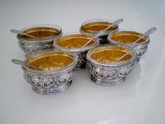 Puiforcat French Sterling Silver Gold Salt Cellars with spoons. Salt Cellars, Condiment Sets, Lehenga Saree, Spoons, French Antiques, Art Decor, 18k Gold, Sterling Silver, Box
