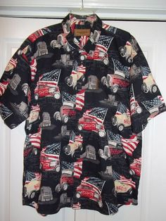 Mens CLEARWATER OUTFITTERS Short Sleeve Shirt VTG HOT RODS & USA FLAGS - XXL #ClearwaterOutfitters #ButtonFront