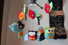 "Baby Crib Mobile - Baby Mobile - Owl Birds Baby Mobile - Nursery Decor - Kids Room ""Ski Hop Treetop Friends Matching Mobile"""