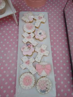 Galletas de bautizo Baptism Cookies, Christening Cakes, Cookie Swap, Biscotti, Chocolates, Cookie Recipes, Angels, Cupcakes, Easter