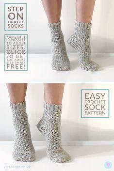 Learn how to crochet socks! The beginner friendly 'Step On' crochet sock pattern is perfect for crocheters new to sock making. Easy Crochet Socks, Crochet Sock Pattern Free, Crochet Shoes, Crochet Slippers, Knit Or Crochet, Crochet Gifts, Learn To Crochet, Crochet Clothes, Crochet Patterns