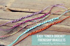 Easy Finger Crochet Bracelets...a fun easy summer craft! #tutorial #diy