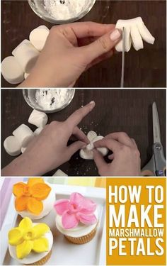 DIY Marshmallow Flower Shaped Cupcake Topper (Video) #diy #food #cake deocration