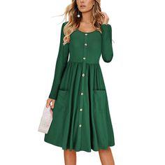 Women Solid O Neck Button Dress Long Sleeve Pocket Casual Beach Long Maxi Dress Plus Size Maxi Dresses, Short Sleeve Dresses, Long Sleeve, Women's Dresses, Casual Dresses With Sleeves, Ladies Dresses, Cheap Dresses, Cotton Dresses, Wedding Dresses