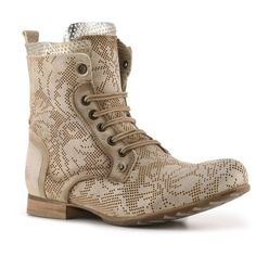 Felmini Floral Combat Boot ($130) ❤ liked on Polyvore featuring shoes, boots, ankle booties, bootie boots, military boots, perforated ankle boots, lace up boots and lace up ankle boots