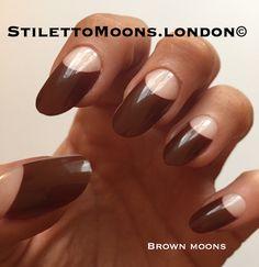 Autumn brown stiletto coffin nails.