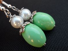 Apple Green Turquoise and Ivory Pearl by Jenalynscreations on Etsy, $15.99