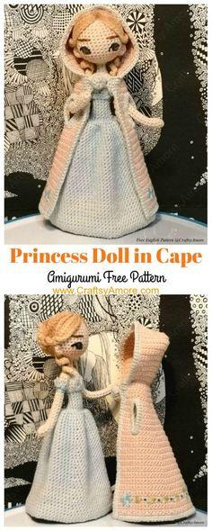 Baby Knitting Patterns Toys Amigurumi Princess Doll in Cape Crochet Free Pattern Baby Knitting Patterns, Crochet Dolls Free Patterns, Crochet Doll Pattern, Doll Patterns, Clothes Patterns, Doll Amigurumi Free Pattern, Afghan Patterns, Cat Pattern, Pattern Ideas