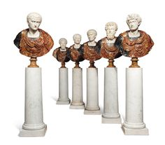 A SET OF SIX ITALIAN MARBLE AND SCAGLIOLA OVER LIFE-SIZE BUSTS OF ROMAN EMPERORS MID-20TH CENTURY. Depicting Nerva, Marcus Aurelius, Julius Caesar, Caligula, Septimus Severus and another emperor; each with breastplate and toga, on turned spreading socle; together with a set of six mottled white marble circular pedestals on square bases - Dim: The busts: 42 in. (117 cm.) high. The pedestals: 48 1/2 in. (123 cm.) high; 17 in. (43 cm.) square.
