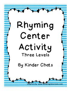 Looking for a differentiated rhyming activity for Literacy centers? Then this free product is for you! The activity has three different levels to reach all learners. We hope you enjoy this free product! Kinder Chats