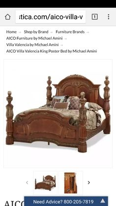 Reinvent your master bedroom with all the elegance of an Old World estate thanks to the Michael Amini Villa Valencia Poster Bed . This poster bed is. Bed Furniture, Villa Valencia, Bed, Aico Furniture, Furniture, King Poster Bed, Bedroom Posters, Home Decor, King Beds