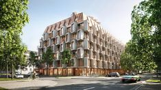 UNstudio proposes plug-in dwellings in munich with its van B residences Residential Architecture, Architecture Design, Urban Living, Urban Lifestyle, Sleeping Nook, Local Architects, Multi Family Homes, Munich Germany, Modern City