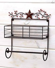 2-TIER LAZY SUSAN STARS /& BERRIES COUNTRY PRIMITIVE RUSTIC KITCHEN HOME DECOR