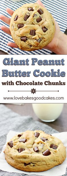 Curb that cookie craving with this Giant Peanut Butter Cookie with Chocolate Chunks! A few simple ingredients and less than 30 minutes are all that separates you from cookie bliss! Cookie Desserts, Just Desserts, Cookie Recipes, Delicious Desserts, Dessert Recipes, Yummy Food, Baking Recipes, Dinner Recipes, Peanut Butter Recipes