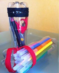 Cómo hacer porta lápices o cartucheras de botellas | Como reciclar