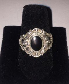 Vintage Sterling Silver Black Onyx Ring Sz 7.50  | eBay