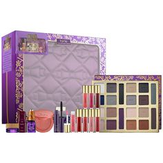 New at Sephora: Tarte The Tarte of Giving Collector's Set & Travel Bag. Inspired by the Tarte family and their favorite gifts over the years, this exclusive, rich collection features a host of limited-edition shades that are reminiscent of holidays past, as well as some of the bestselling and most iconic Tarte products. #makeup #giftsets