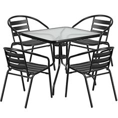 Square Glass Metal Table w/ 4 Black Metal Aluminum Slat Stack Chairs - Flash Furniture your perfect outdoor space with this glass table set. This set will enhance your bistro, cafe, restaurant, hotel or home patio space Patio Dining, Patio Table, Outdoor Dining, Indoor Outdoor, Dining Room, Garden Table, Kitchen Dining, Dining Chairs, Ikea Table