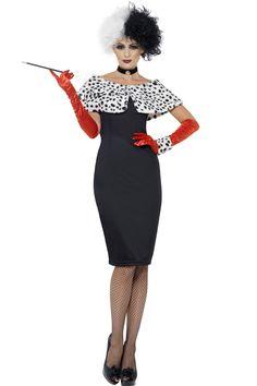 Cruella de Ville kostuum bestaande uit de zwarte jurk met de wit met zwart gestipte kraag, de rode handschoenen het halsbandje en een gestipte armband.