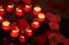 Tealight candles and rose petals