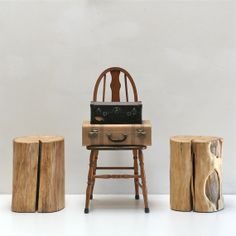 Tree Stump Nightstand End Side Table Stool Seat by realwoodworks1, $360.00