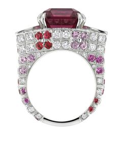 Louis Vuitton Voyage dans le Temps Flashforward ring in white gold with one 10.80ct red spinel, pink sapphires, spinels, lacquer and diamonds.