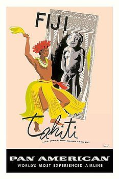 fiji,tahiti,native dancer,hula,bora bora,pan american,vintage aviation poster by a. amspoker,south pacific,oceania,tribal,fijian,tahitian,idol,polynesia,vintage travel poster,retro,poster art,vintage advertising,vintage travel,