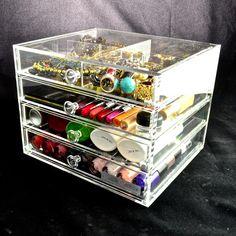Makeup Storage, Makeup Organization, Storage Ideas, Drawers, Vanity, Crystals, Table, Shop, Model