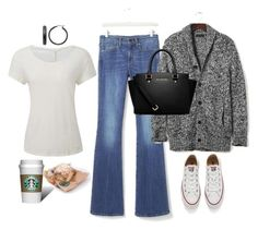 """Saturday Morning Starbucks"" by naviaux ❤ liked on Polyvore featuring Banana Republic, Converse, MICHAEL Michael Kors and Mondevio"