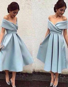 Blue off shoulder V-neck long tea-length Prom Dresses Gown special hig