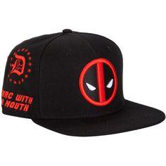 Marvel Deadpool Allover Embroidered Snapback Hat Hot Topic ($15) ❤ liked on Polyvore featuring accessories, hats, embroidery hats, snapback hats, snap back hats, adjustable hats and adjustable snapback hats