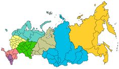 Map of Russian federal districts as for 29 July 2016