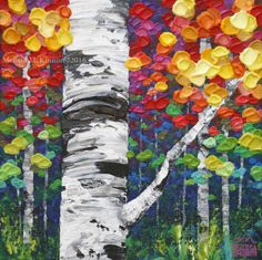 MELISSA MCKINNON Contemporary Abstract Landscape Artist features BIG COLOURFUL PAINTINGS of Aspen & Birch Trees, Rocky Mountains and stunning views of the Canadian prairies, big skies and ocean beaches. Modern Art. Vibrantly coloured autumn landscape painting of aspen and birch trees in the fall. See the new collection...