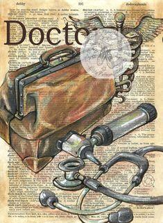 Druck: Arzt Mischtechnik Zeichnung auf antike Wörterbuch