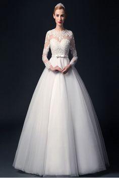 Elegant Handmade Puffy Long Sleeves Lace Wedding Dress – Okdresses