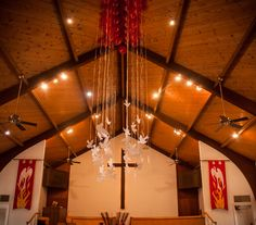 For Pentecost Sunday we had about 60 balloons floating above the altar.  It was a beautiful effect.