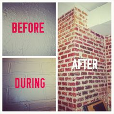 "FAUX BRICK WALL (joint compound and paint) Click the link below to get the ""how to"""