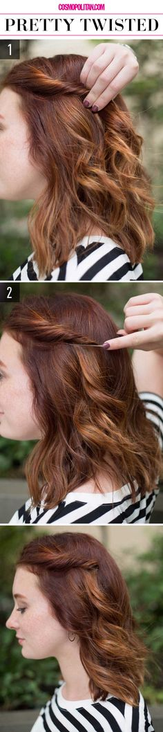 PRETTY TWISTED: Create this look by twisting the bang section of your hair back and away from your face. Twist it and secure it about 3 inches from your face. Keep the twist in place with a bobby pin but insert it like pictured to keep it concealed and polished looking. Click through for the full tutorial and you can find more ~flawless~ hairstyles at Cosmopolitan.com.
