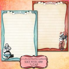 Alice in Wonderland Notecards, Alice Digital collage sheet, perfect for cards, tags, scrapbooking and digital art.