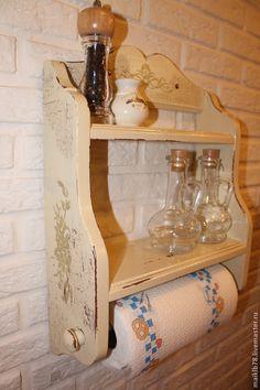 Купить Полка с полотенцедержателем «Прованс Классик» - бежевый, мебель ручной работы, мебель в стиле прованс