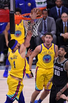 f6134e3f4c8e Golden State Warriors  JaVale McGee dunks the ball after a pass from  teammate Klay Thompson during the first quarter of their NBA game at the  Golden 1 ...
