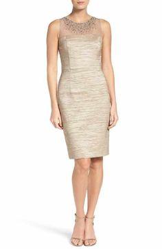 0e399344b3f Eliza J Metallic Sheath Dress (Regular   Petite) Special Occasion Dresses