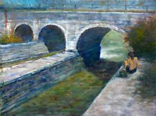 Boy Fishing at Erie Canal New York State 18x24 in. Oil on canvas Hall Groat Sr.